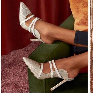 Lilia Mule Strap Pump Silver Heel Slip On New